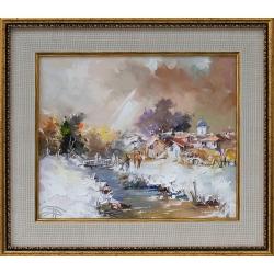 Зима край реката - картина от Димитър ПЕТКОВ
