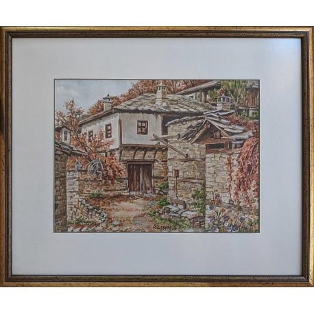 Къща в село Лещен - акварел от ГАЛИНА