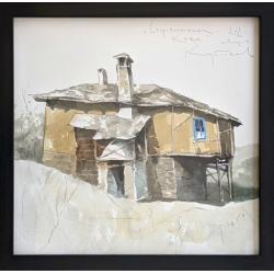 Старопланинска къща - акварел от КАРАТОНЕВ