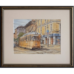 Трамвай 22, София - акварел от ГАЛИНА