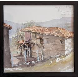 Селски двор в Ефрем - акварел от КАРАТОНЕВ