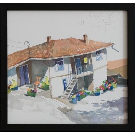 Слънчев двор - акварел от КАРАТОНЕВ