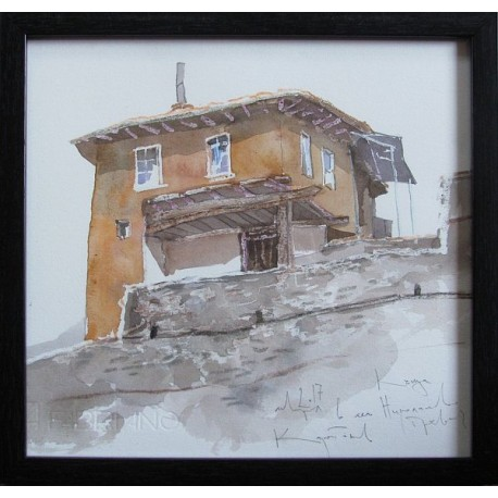 Къща в село Николаево - акварел от КАРАТОНЕВ