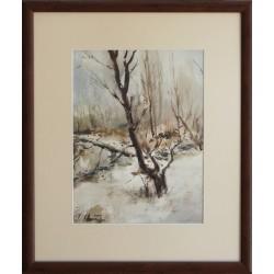 Зимен пейзаж- акварел от Е.Томов