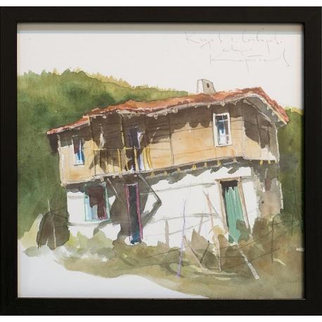 Къща в село Сливарово - акварел от КАРАТОНЕВ