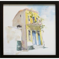 Жълта къща - акварел от КАРАТОНЕВ