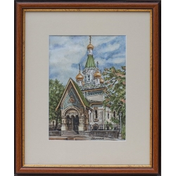 Руската църква в София - акварел от ГАЛИНА