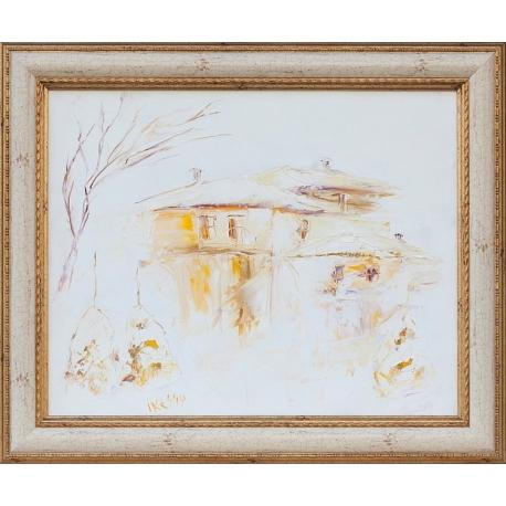 Импресия в бяло със стари къщи - картина от ИВА